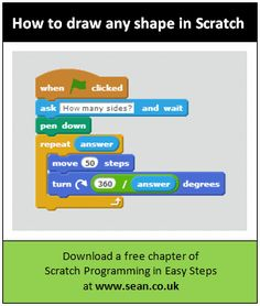 How to draw any regular shape in #Scratch. See it in action here: http://www.sean.co.uk/books/scratch-programming-in-easy-steps/draw-any-shape.shtm