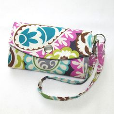 Cell Phone Wallet Wristlet / Pretty Gray Paisley with by Cucio