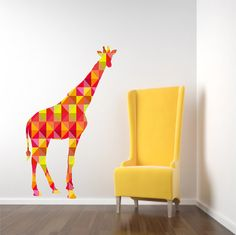 This large multi-color geometric giraffe is a great addition to a nursery or as a baby shower gift.    Giraffe measures approximately - 27.5 wide and 51