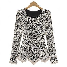 Women's Round Neck Lace/Ruffle Shirt , Lace/Polyester Long Sleeve - CAD $27.79