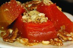 KABAK TATLISI/Pumpkin Sweet-a dessert prepared with boiled pumpkin-Turkish Delight Lokum Recipe, Turkish Sweets, Bacon Wrapped Scallops, Cheese Wrap, How To Make Pumpkin, Caramel Recipes, Pumpkin Dessert, Turkish Recipes, Bon Appetit
