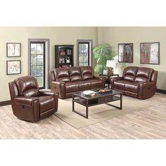 Wayport 4-piece Top Grain Leather Living Room Set- With Recliner ...