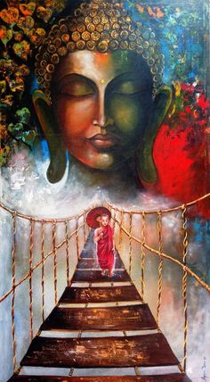 Buy Buddha and Monk child, an Acrylic Painting on Canvas, by Arjun Das from India, For sale, Price is $2140, Size is 60 x 33 x 1 in.