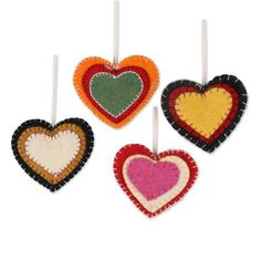 Buy Wool felt ornaments, 'Entrancing Hearts' (set of today. Shop unique, award-winning Artisan treasures by NOVICA, the Impact Marketplace. Each original piece goes through a certification process to guarantee best value and premium quality. Christmas Hearts, Felt Christmas Ornaments, Xmas, Heart Ornament, Ornament Crafts, Valentine Crafts, Holiday Crafts, How To Make Ornaments, Ornaments Making