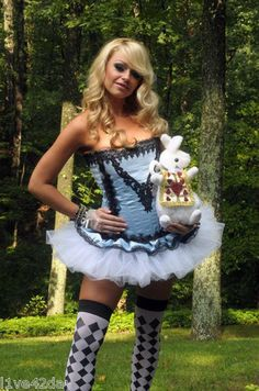 8978b99715 Alice in Wonderland Sexy Corset Dress Set Blue Costume Pinup Party S M L XL