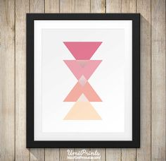 Coral Triangle Wall Print Art (Digital) - Instant Download   Simple Pink Sunrise Triangles in Pink,  Modern Art   Prints Printable Artwork