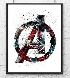 Avengers Watercolor Print, Avengers Logo, Superhero Posters, Marvel Print, Art, Wall Art, Home Decor, Kids Room Decor, Home & Living  This prints