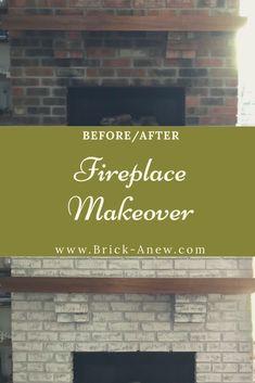 Paint Brick Fireplace White, Brick Fireplace Remodel, Fireplace Kits, Painted Brick Fireplaces, Fireplace Update, Brick Fireplace Makeover, Types Of Bricks, Brick Hearth, White Wash Brick