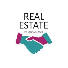 A simple real estate template. A background illustration of hands shaking with black text displaying real estate and an option to include a tagline. Real Estate Templates, Real Estate Logo, Business Logo, Logo Templates, Hands, Logos, Simple, Illustration, Black