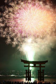 Hanabi at Miyajima, Hiroshima, Japan Firework Nail Art, Fireworks Art, Wedding Fireworks, Geisha, Samurai, Independence Day Fireworks, Miyajima, Fire Works, Hanabi