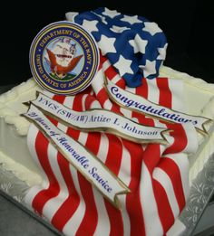 Custom Military Cakes with three banners and American flag