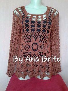 Oi gente,boa noite! Mais uma blusa feita por mim,com muito gosto. Fiz por uma peça da minha amiga Fátima Valente. Usei linha Rayza grossa...