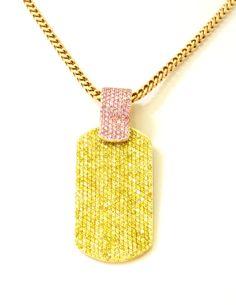 Custom designed by Alan Friedman Pink and Yellow Diamond Dog Tag!
