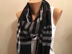 A personal favorite from my Etsy shop https://www.etsy.com/listing/258517940/20-salestripe-black-scarfblack