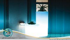 گلدان استوانه نورانی LED با قابلیت تغییر رنگ نور و دکوراسیون داخلی مسکونی تجاری و باغ و ویلا ، میز گل عروس