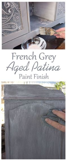 Create a Gorgeous French Grey Aged Patina Finish! I love this beautiful Furniture Painting Technique by Thicketworks for Graphics Fairy. Great for getting that perfect Farmhouse Look!: