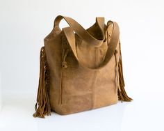 Brown leather fringe purse Soft leather bag Leather by maykobags  $290 on #Etsy