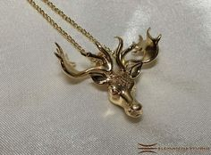 Mistletoe Reindeer Necklace Pendant Brass & Gold #Christmas #Reindeer #Mistletoe #ReindeerJewelry #ReindeerPendant