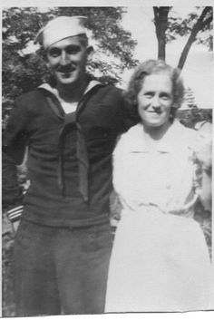 Uncle Bill and Aunt Sarah Anderson 1942 or 1943. Bill was in the SeaBees. The picture was taken in Killbuck when he was on leave.