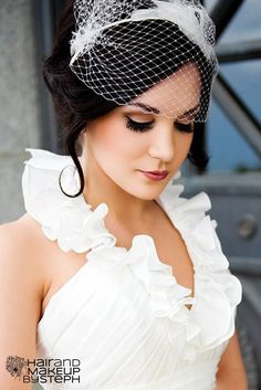 Wedding makeup via blog.hairandmakeupbysteph.com What do you all think of a birdcage veil for a 2nd wedding?