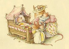 One of my absolute favorite stories in Brambly Hedge is the section on Poppy's Babies.  So precious.  So heartwarming!