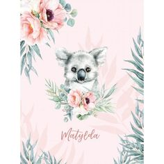 Personalized baby girl blanket, Australian animal baby shower gift, Koala bear and flowers nursery bedding, Pink crib blanket with name