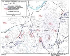Map showing the situation at 9 am, 25 April: The Glosters are isolated on Hill 235 near Solma-ri, west of Route 5Y. The brigade's main line of retreat is Route 11. The Belgian battalion occupies blocking positions near the brigade's command post, while RNF, RUR and 8th Hussars are still further north. Additional support is provided by elements of the U.S. 65th Infantry. Note also the escape route of the Glosters' D Company.