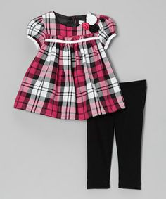 Take a look at this Pink & Black Plaid Babydoll Dress & Leggings - Infant by Joe-Ella on #zulily today!