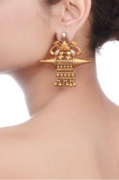 Amrapali: Silver Lapis Pearl Oxidised Earrings