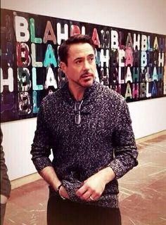 "Art collector Robert Downey Jr. viewing the Mel Bochner exhibition at the Haus der Kunst in Munich, Germany - during the ""Iron Man 3"" press tour in 2013."