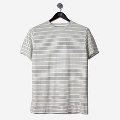 NORSE PROJECTS James Fine Stripe SS Tee Dried Olive Ecru