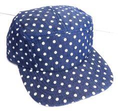 NEW womens (or mens) POLKA-DOT FIVE-5-PANEL CAMPER HAT Dark-Blue/White Spotted #Target #BaseballCap