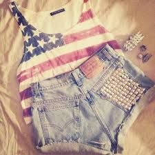 american flag crop top tank with jeweled high waisted shorts