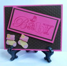 """Hot pink and brown """"Baby"""" card.  https://www.facebook.com/KatherinesHandmadeCreations"""