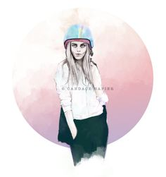 CARA & HER HELMET by CANDACESTUDIO on Etsy, $10.00