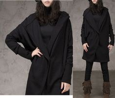 Korea Black Loose Fit Wool Coat Front Button Down by MordenMiss, $72.00