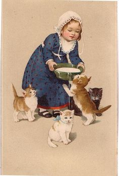 VINTAGE EUROPEAN ILLUSTRATION, GIRL FEEDING KITTENS MILK. BY JANWILLEMSEN, FLICKR