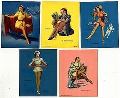 Original 1945 Set of 5 ELVGREN PIN-UP Pinup Prints. $17.00, via Etsy.