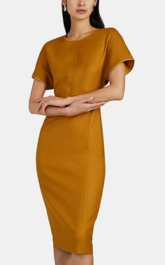 We Adore: The Wool Fitted Midi-Dress from Narciso Rodriguez at Barneys New York Carolyn Bessette Kennedy, Fitted Midi Dress, Narciso Rodriguez, Gold Dress, Barneys New York, Ladies Dress Design, New Dress, Designer Dresses, Nice Dresses