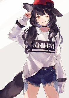 Dark Anime Wolf Girl with Headphones - Bing images Anime Girl Neko, Art Anime Fille, Chica Gato Neko Anime, Chibi Anime, Anime Wolf Girl, Cool Anime Girl, Chica Anime Manga, Fanarts Anime, Beautiful Anime Girl