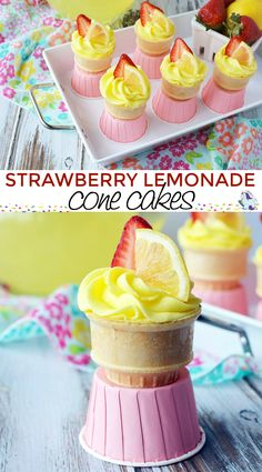 Strawberry Lemonade Cupcakes in a Joy Cake Cup.. #cupcakes #recipe #conecakes #strawberry #lemonade  #JoyCone
