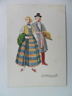 Latvian National Costume. Postcard. Folk dress cloth Latvia.