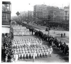 Group of Sailors marching down Canal St after WWI