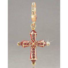 July Birthstone Cross Charm - Ruby