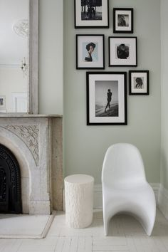 Gallery wall on one side of fireplace with Panton chair Panton Chair, Picture Arrangements, Photo Arrangement, Sweet Home, Modern Chairs, Side Chairs, Interior Inspiration, Townhouse, Wall Decor