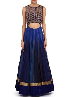 This lehenga choli is made in shaded blue net fabric. Blouse of this lehenga choli is weaved in kundan and zardosi weaving and improved in waist line cut work.                                                                                                                                                                                 More