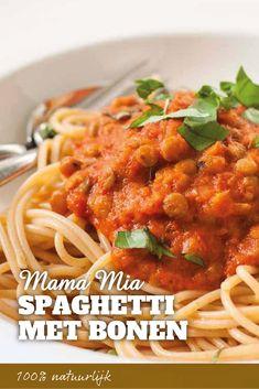 Eiwitrijke vegetarische spaghetti maak je met bonen of linzen. Heerlijk vegetarisch genieten met het hele gezin. Makkelijke maaltijd.  #eiwitrijk #maaltijd #vegetarisch Lunch Recipes, Vegetarian Recipes, Cooking Recipes, Healthy Recipes, Healthy Diners, Go Veggie, Good Food, Yummy Food, Fitness Workouts