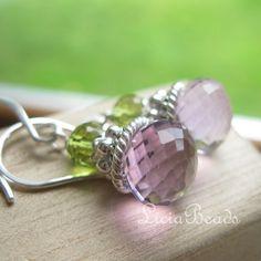 August birthstone, Peridot and February birthstone, Amethyst $36 #jewelry #gemstone #earrings