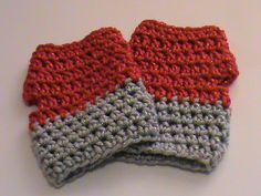 Red and Silver/Gray Sparkle Fingerless Crochet Gloves - Ready to Ship (#143) by NoreensCrochetShop on Etsy