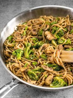 With just a few ingredients you can make these easy and delicious Mushroom Broccoli Stir Fry Noodles for a fast weeknight dinner. BudgetBytes.com Rice Noodle Recipes, Veggie Recipes, Asian Recipes, Vegetarian Recipes, Cooking Recipes, Healthy Recipes, Cooking Ham, Pumpkin Recipes, Stir Fry Rice